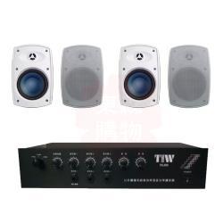商業空間 TIW PA-808/80W 擴大機+Poise H-4T 多用途喇叭(白) X4支