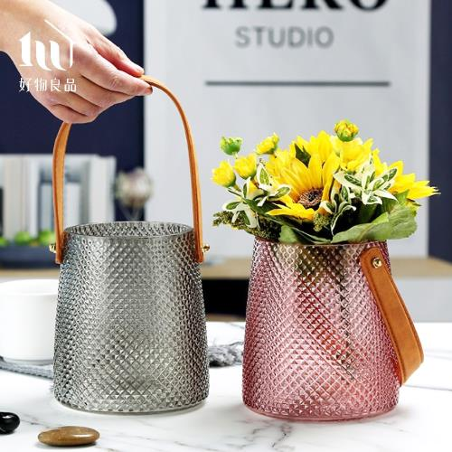 【好物良品】北歐皮革手提玻璃插花花瓶花器-大尺寸 (直徑15.5×高18cm)花藝 花瓶 花器 家飾