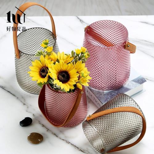 【好物良品】北歐皮革手提玻璃插花花瓶花器-小尺寸 (直徑13×高15cm)花藝 花瓶 花器 家飾
