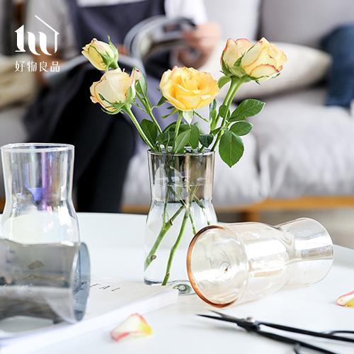 【好物良品】雙色漸變手工玻璃花瓶 (直徑9.5×高17.5cm五款任選)花藝 花瓶 花器 家飾