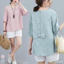 【ACheter】日本貴族緹花刺繡後蝴蝶結棉麻寬鬆上衣#106921現貨+預購(2色)