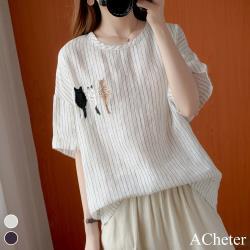 【ACheter】日本三隻貓刺繡條紋棉麻涼爽上衣#107104現貨+預購(2色)