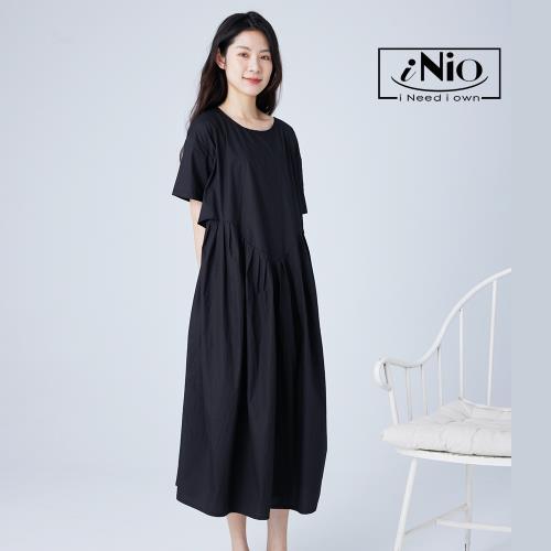 【iNio】腰際弧形抓皺設計短袖洋裝-現貨快出【C1W3030】/