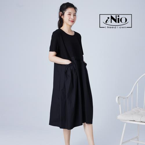 【iNio】自在風腰間抓皺短袖長洋連衣裙-現貨快出【C1W3028】/