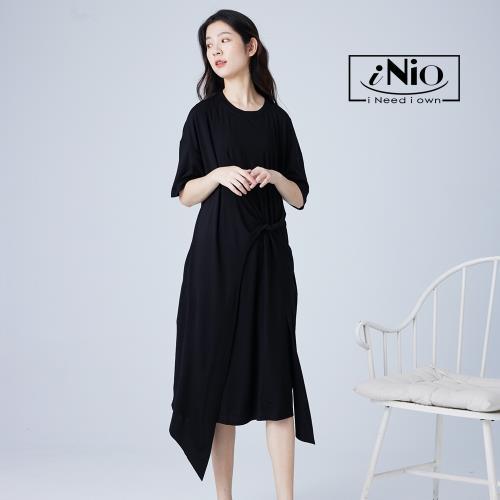 【iNio】下擺不規則腰間抓皺設計舒適短袖洋裝-現貨快出【C1W3021】/