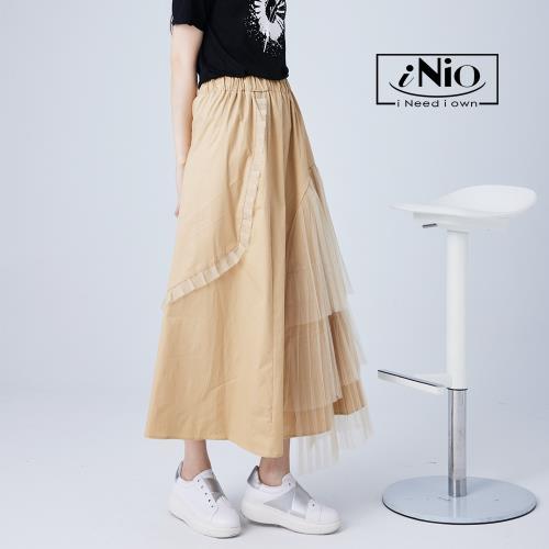 【iNio】時尚系層次網紗拼接鬆緊腰長裙-現貨快出【C1W2115】/