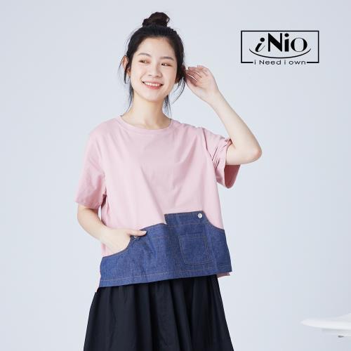 【iNio】撞色風丹寧拼接短袖造型上衣-現貨快出【C1W1148】/