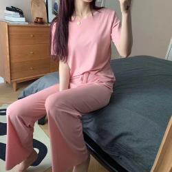 CS22 夏季休閒冰絲純色寬長褲套裝(短袖+長褲 3色)