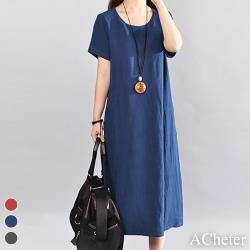 【ACheter】古趣遊花田自在棉麻寬鬆洋裝#106641現貨+預購(3色)