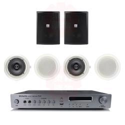 商業空間 BC Audio TPA-100 擴大機+QS-41POR 壁掛喇叭(黑) X2支+HSR-108-6T 崁入式喇叭X4支