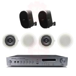 商業空間 BC Audio TPA-100 擴大機+QS-40PRO 壁掛喇叭(黑) X2支+HSR-108-6T 崁入式喇叭X4支