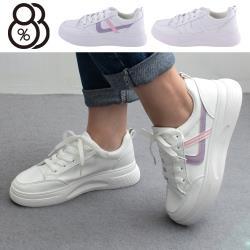 【88%】4.5cm休閒鞋 休閒百搭條紋 皮革厚底綁帶圓頭包鞋 小白鞋