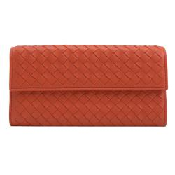BOTTEGA VENETA 261995 經典編織小羊皮扣式長夾.橘