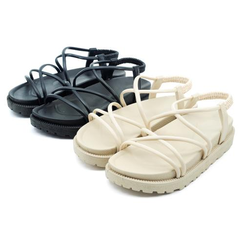 【cher美鞋】防水交叉線條厚底涼鞋-黑色/米色-1000500769-03