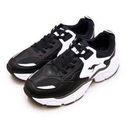 【KangaROOS】男 美國袋鼠鞋 經典復古籃球鞋 SWING老爹鞋系列(黑白 01079)