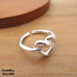 【海洋盒子】質感拋光厚度線條甜美愛心開口式925純銀戒指.素銀色.可調整戒圍
