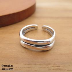 【海洋盒子】質感厚度復古雙線條開口式925純銀戒指.可調整戒圍