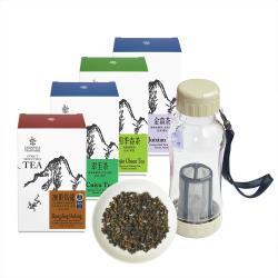 【沁意】台灣好茶輕鬆泡特惠組! 四款原味茶(150gx4盒)+行動拍檔(370ml)