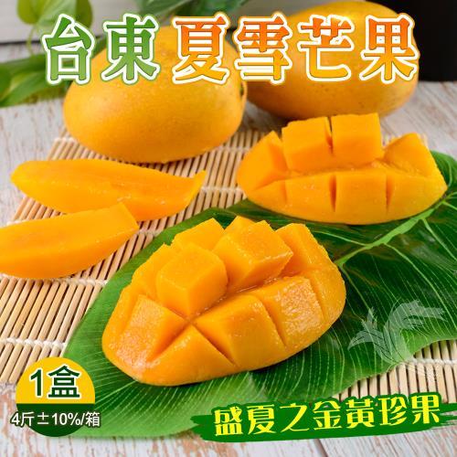 【禾鴻】盛夏之黃金珍果-台東夏雪芒果淨重4斤x1盒