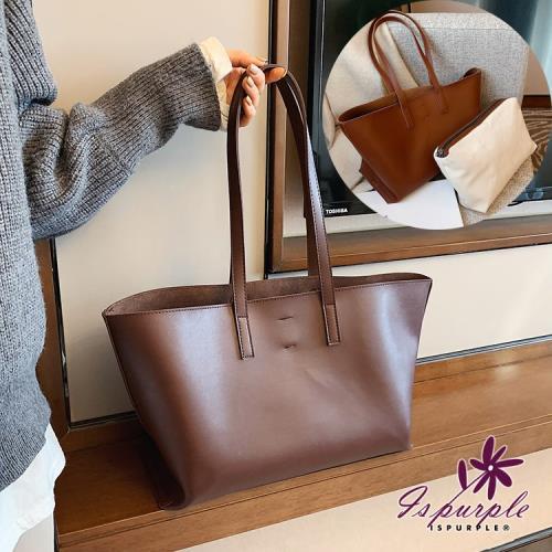 【iSPurple】梯形子母*大容量皮革手提肩背兩件組包/咖啡/