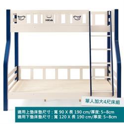 hoi!好好生活 林氏木業童真松木實木雙層單人加大4尺兒童床架 LS171-藍白色