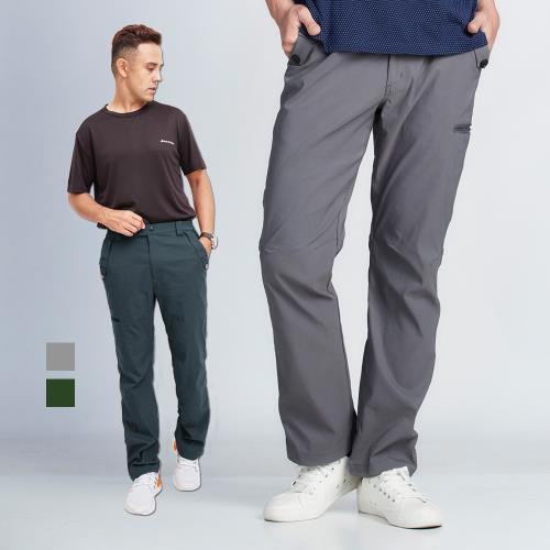 【戶外趣】男款雙鈕扣造型多拉鍊口袋防潑水抽繩束腳防曬長褲