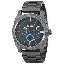 【FOSSIL】黑鋼 三眼 計時碼錶 男錶 石英錶 不鏽鋼錶帶 防水(FS4931)