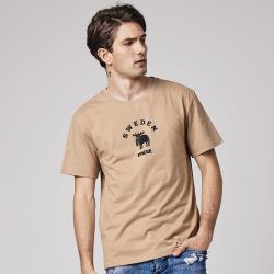 moz瑞典大環形駝鹿印花100%純棉短T-可可棕(亞洲版)男款