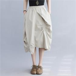 Keer-鬆緊腰有型不規則裙襬個性中裙-F(共二色)
