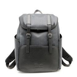 FIRANO-雙皮帶釦帆布拼皮革手提/後背包(黑)