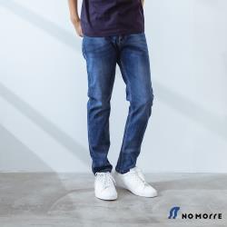NoMorre 經典彈力深藍刷色窄管丹寧褲