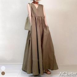 【ACheter】日本純色高腰大裙襬棉麻背心寬鬆長洋裝#109164現貨+預購(2色)