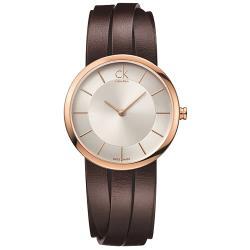 【瑞士 CK手錶 Calvin Klein】造型皮帶女錶 玫瑰金 礦物抗磨玻璃 日常生活防水(K2R2S6G6)