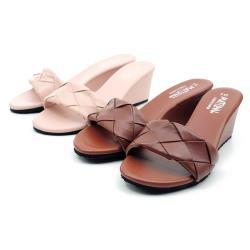 【 CHER美鞋】 MIT甜美編織一字坡跟厚底拖鞋-粉色/棕色 36-40碼 -1050591251-18