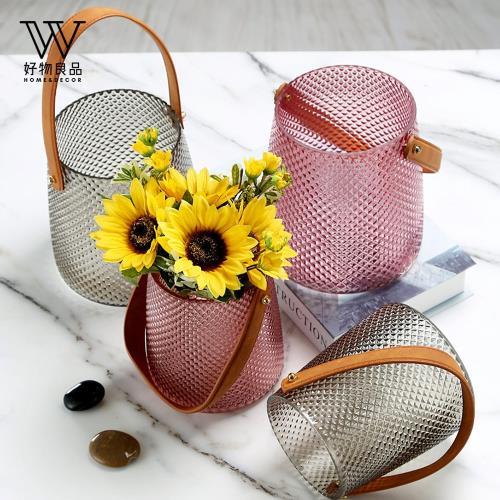 【好物良品】北歐皮革手提玻璃插花花瓶花器(小尺寸 直徑13x15cm)花藝 花瓶 花器 餐桌擺飾 插花裝飾