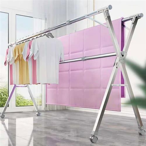 (買一送一)_IDEA 旗艦版2.4米不銹鋼X型移動式帶輪曬衣架