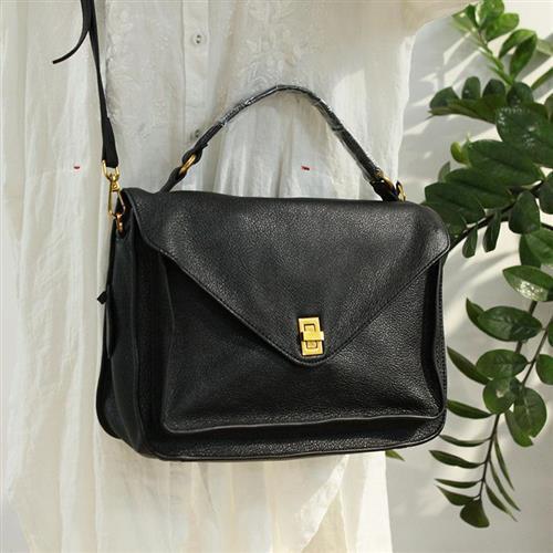 【米蘭精品】側背包真皮手提包-鎖扣方型黑色牛皮2款74af8/
