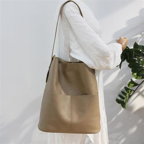 【米蘭精品】側背包真皮單肩包-大容量牛皮休閒子母包3色74af11/