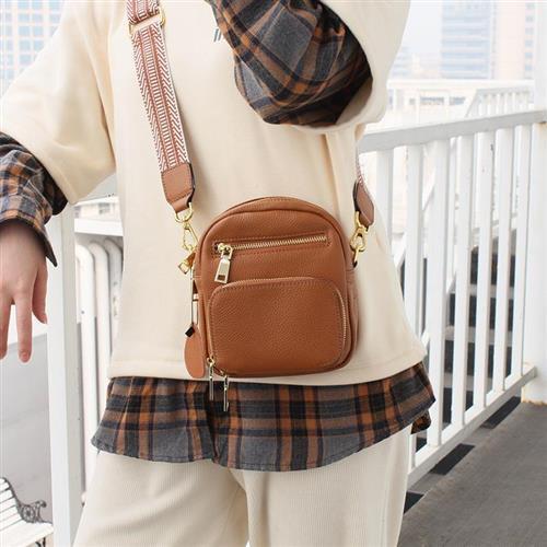 【米蘭精品】側背包真皮斜背包-寬肩帶牛皮簡約多隔層2色74af41/