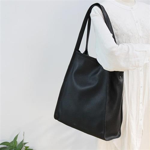 【米蘭精品】側背包真皮單肩包-簡約休閒牛皮購物袋3色74af14/