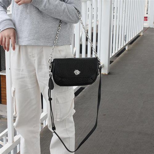 【米蘭精品】側背包真皮鍊條包-羊皮鎖扣小方包手提74af36/