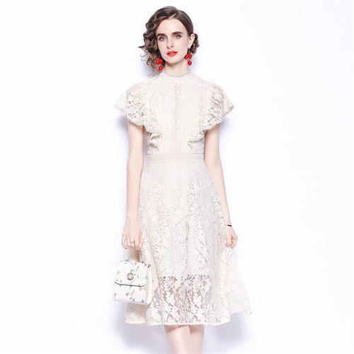 【米蘭精品】洋裝短袖連身裙-繡花鏤空蕾絲小禮服女裙子74ae9