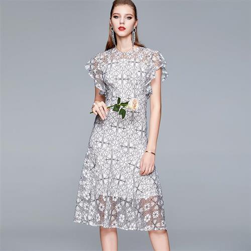 【米蘭精品】洋裝短袖連身裙-刺繡鏤空蕾絲小禮服女裙子74ae26