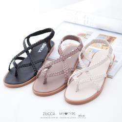 ZUCCA [z7003] 編織素帶交叉涼鞋-黑色/粉色/白色