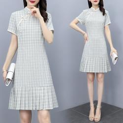 REKO-中式淺藍格紋改良旗袍洋裝M-3XL