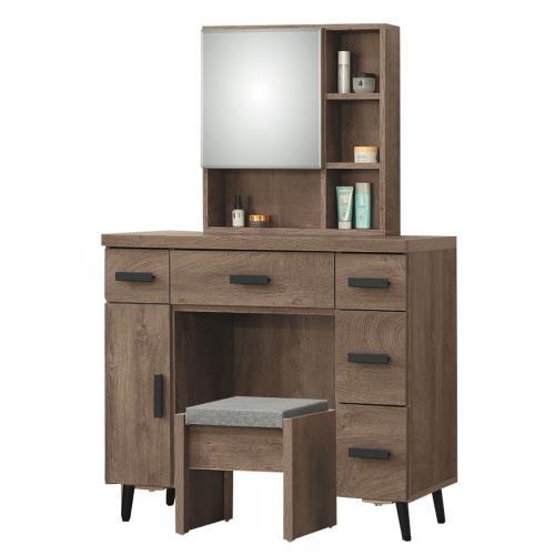 Boden-衛斯理3.2尺工業風化妝桌/鏡台/梳妝台(贈化妝椅)