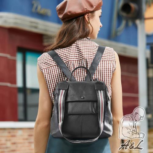 【A&L老工匠】進口牛皮時尚多層次Silvia後背包-時尚黑/
