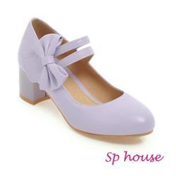 【Sp house】甜美蝴蝶結一字扣瑪莉珍跟鞋(大人全尺碼)