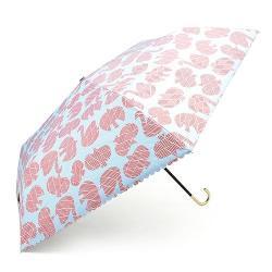 FIRANO 勾式提把抗UV摺疊晴雨傘(紅天鵝x水藍底)
