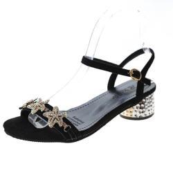 【Taroko】閃耀海星水鑽粗跟夏季一字涼鞋(2色可選)